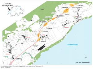 Plan de situation des sites archéologiques du tracé vaudois de l'autoroute A5. Dessin D. Glauser.