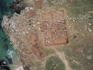 Vue aérienne de la fouille (2014 - cliché A.-G. Gueguen)