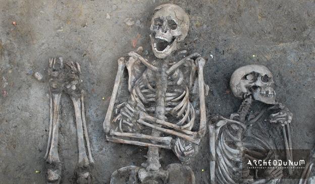 Détail d'une sépulture multiple