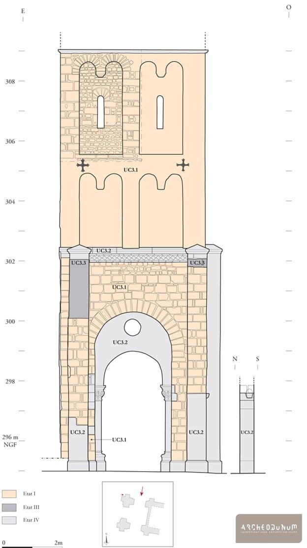 Relevé archéologique phasé de la façade nord du clocher