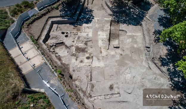03 – Secteur 2 : vue aérienne du grand bâtiment antique