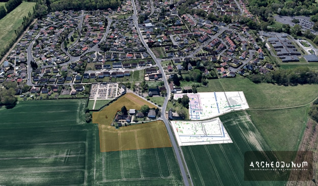 Boigny-sur-Bionne et la fouille archéologique. Vue plongeante depuis le nord. En bleu, les vestiges de la villa gallo-romaine. En orange, la fouille de 2021. Fond Google Earth, plan et montage Archeodunum.