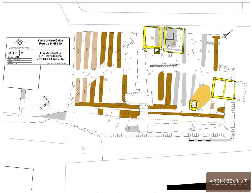 Yverdon-les-Bains - Plan des structures de la période 3 (Tibère-Claude)