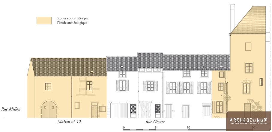 Façades sud des bâtiments concernés par le projet immobilier et zones couvertes par l'étude archéologique