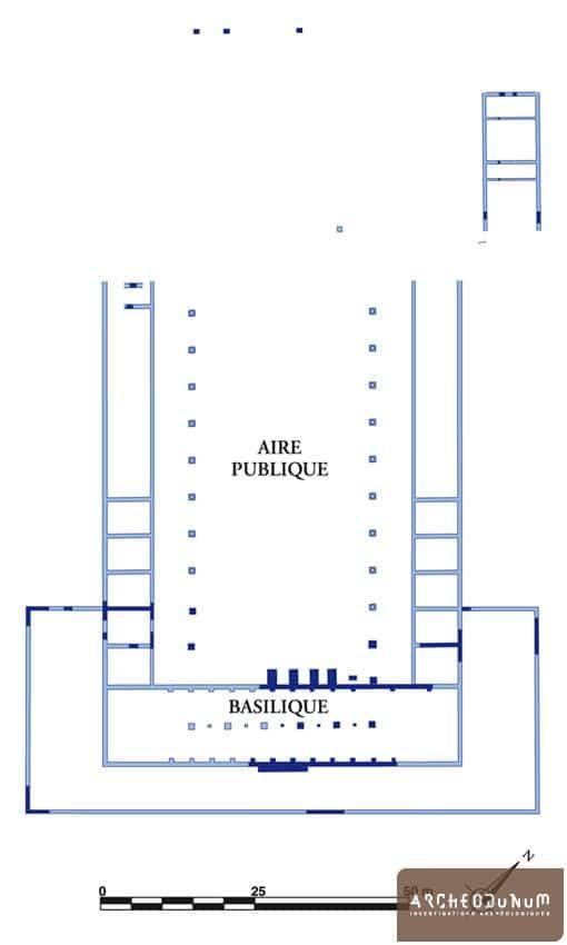 Vestiges et plan restitué du premier forum.