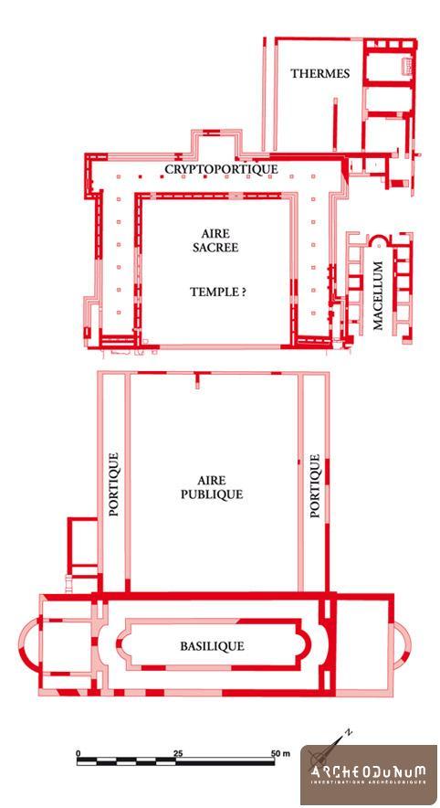 Vestiges et plan restitué  du forum dans son second état.