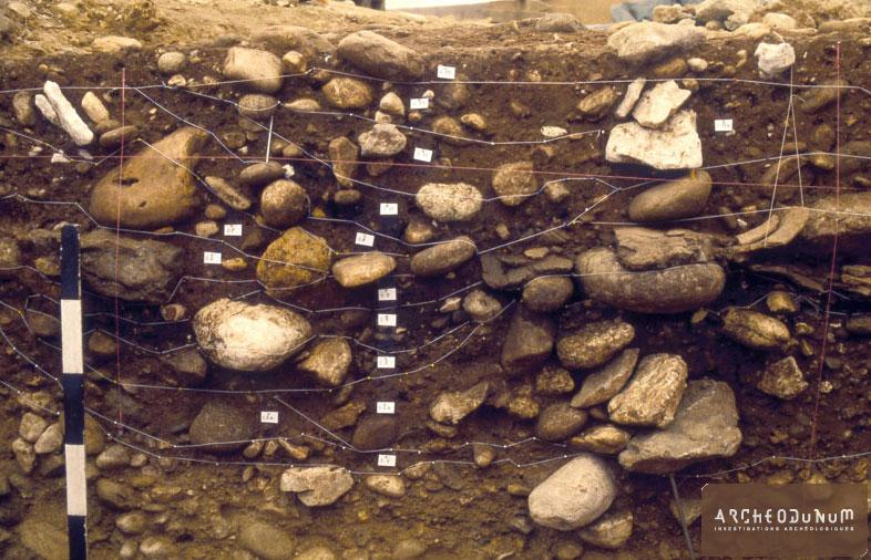 Coupe d'une fosse du Bronze récent montrant ses différentes phases de remplissages