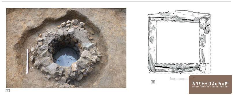 le puits du IVe s. apr. J.-C cours de fouille (A) et proposition de restitution de son entablure (B)