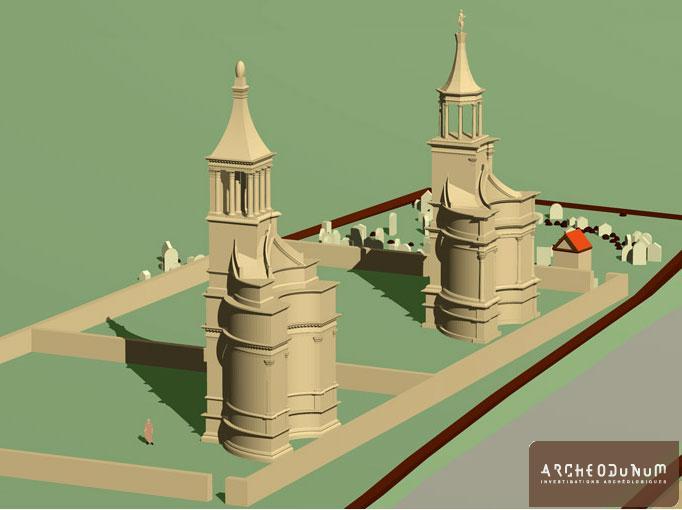 Restitution en 3D des mausolées et des enclos. Vers 40 après J.-C. Hauteur réelle des monuments environ 24 mètres.