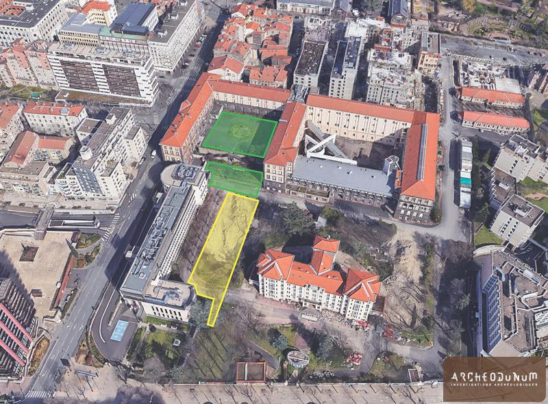 Clermont-Ferrand - L'Hôtel-Dieu et les zones archéologiques vus du ciel. En jaune, la fouille en cours. (Google Earth et Archeodunum)
