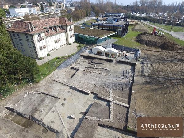 Lausanne-Vidy - Vue aérienne des vestiges d'époque médiévale et moderne