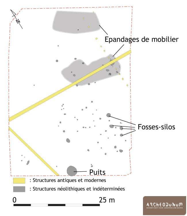Plan des vestiges néolithiques