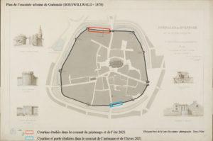 Plan de l'enceinte urbaine de Guérande (BOESWILLWALD - 1878)
