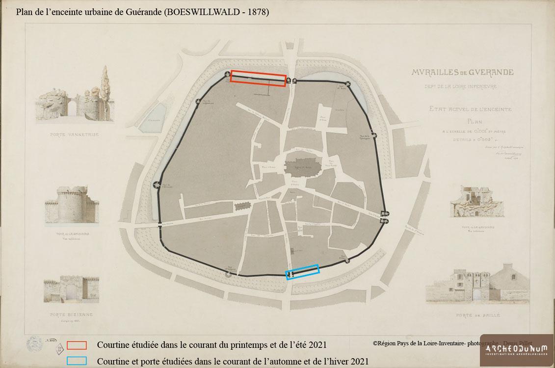 Plan de l'enceinte urbaine de Guérande (BOESWILLWALD - 1878).