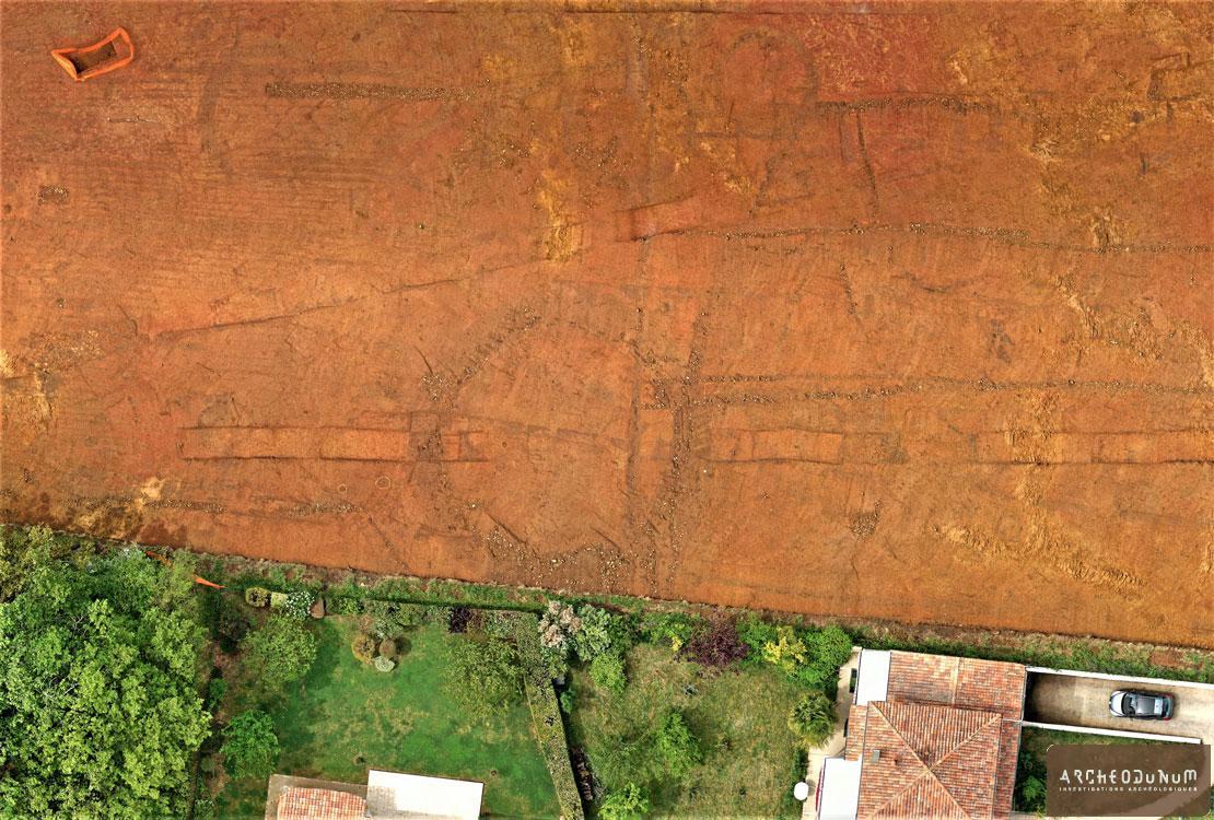 Vue aérienne des enclos protohistoriques