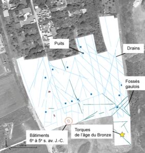 Fig. 1 : Plan général des vestiges sur vue aérienne (fond © Google Earth)