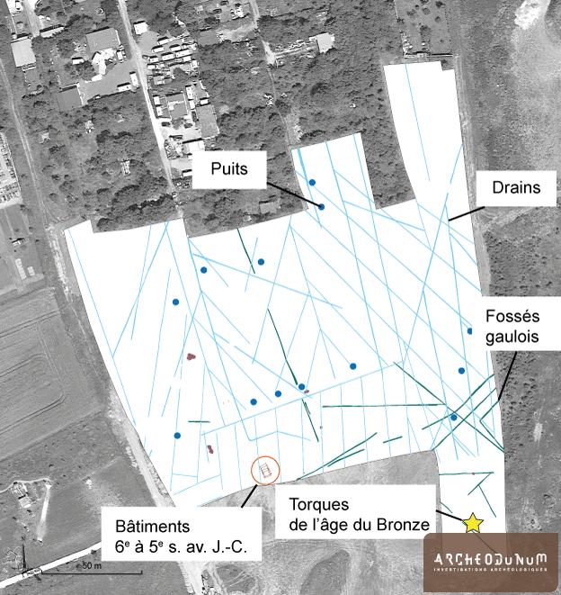 Tomblaine - 1 : Plan général des vestiges sur vue aérienne (fond © Google Earth).